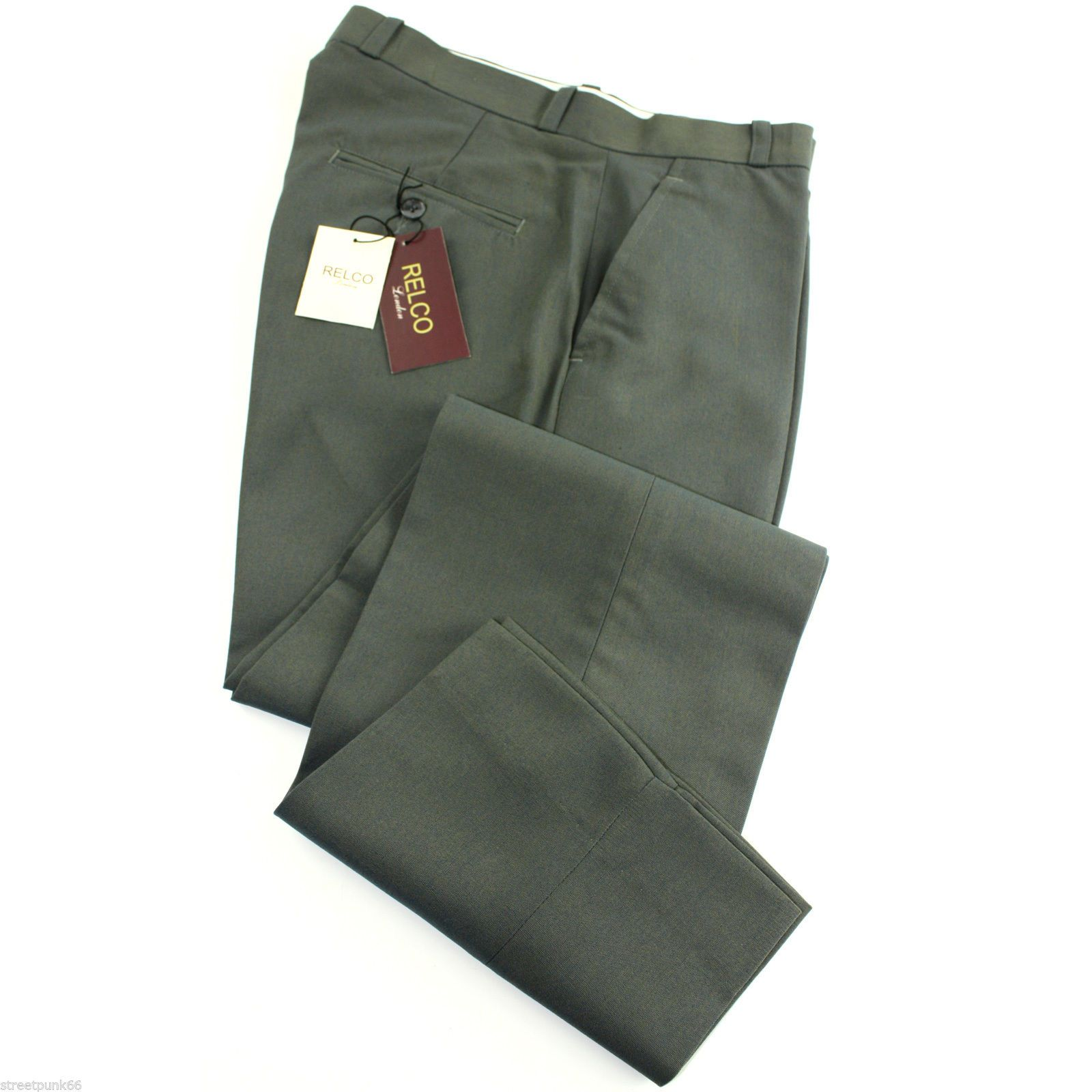 Relco Mens Stay Press Green Tonic Trousers Two Tone Sta ...